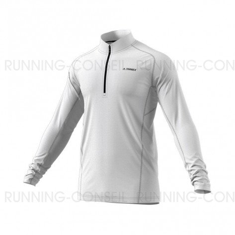ADIDAS Tee-Shirt manches longues 1/2 Zip TRACEROCKER Homme   Blanc